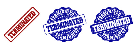 TERMINATED scratched stamp seals in red and blue colors. Vector TERMINATED overlays with grainy surface. Graphic elements are rounded rectangles, rosettes, circles and text tags.
