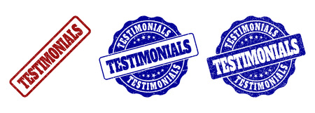 TESTIMONIALS grunge stamp seals in red and blue colors. Vector TESTIMONIALS imprints with grunge surface. Graphic elements are rounded rectangles, rosettes, circles and text titles.