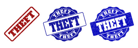 THEFT grunge stamp seals in red and blue colors. Vector THEFT marks with dirty surface. Graphic elements are rounded rectangles, rosettes, circles and text titles.