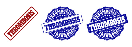 THROMBOSIS scratched stamp seals in red and blue colors. Vector THROMBOSIS watermarks with draft effect. Graphic elements are rounded rectangles, rosettes, circles and text captions.