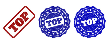 TOP grunge stamp seals in red and blue colors. Vector TOP watermarks with grunge texture. Graphic elements are rounded rectangles, rosettes, circles and text captions.