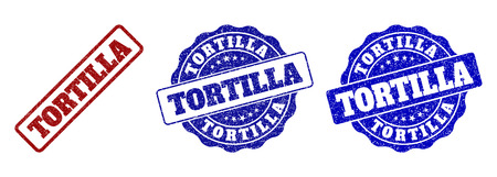 TORTILLA grunge stamp seals in red and blue colors. Vector TORTILLA overlays with grainy surface. Graphic elements are rounded rectangles, rosettes, circles and text titles. Illustration