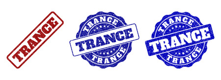 TRANCE grunge stamp seals in red and blue colors. Vector TRANCE watermarks with grunge texture. Graphic elements are rounded rectangles, rosettes, circles and text titles.