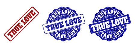 TRUE LOVE grunge stamp seals in red and blue colors. Vector TRUE LOVE labels with grainy surface. Graphic elements are rounded rectangles, rosettes, circles and text labels.