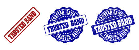 TRUSTED BAND scratched stamp seals in red and blue colors. Vector TRUSTED BAND labels with draft texture. Graphic elements are rounded rectangles, rosettes, circles and text labels.