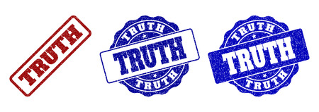 TRUTH scratched stamp seals in red and blue colors. Vector TRUTH labels with scratced texture. Graphic elements are rounded rectangles, rosettes, circles and text labels.