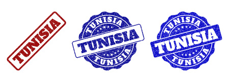 TUNISIA grunge stamp seals in red and blue colors. Vector TUNISIA labels with grunge texture. Graphic elements are rounded rectangles, rosettes, circles and text labels.