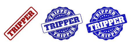 TRIPPER grunge stamp seals in red and blue colors. Vector TRIPPER overlays with dirty effect. Graphic elements are rounded rectangles, rosettes, circles and text captions.