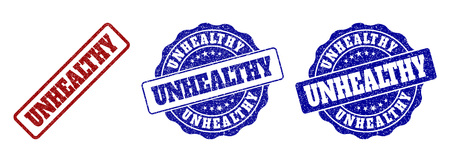 UNHEALTHY scratched stamp seals in red and blue colors. Vector UNHEALTHY labels with grainy surface. Graphic elements are rounded rectangles, rosettes, circles and text labels.