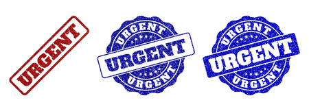 URGENT grunge stamp seals in red and blue colors. Vector URGENT watermarks with grunge effect. Graphic elements are rounded rectangles, rosettes, circles and text tags.