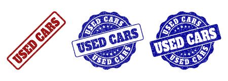 USED CARS grunge stamp seals in red and blue colors. Vector USED CARS signs with grunge surface. Graphic elements are rounded rectangles, rosettes, circles and text tags. Ilustración de vector