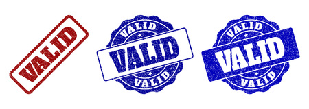 VALID grunge stamp seals in red and blue colors. Vector VALID labels with grainy surface. Graphic elements are rounded rectangles, rosettes, circles and text labels.