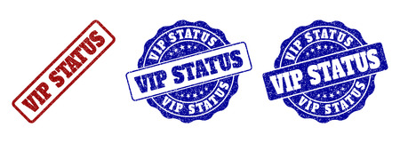 VIP STATUS grunge stamp seals in red and blue colors. Vector VIP STATUS marks with grunge effect. Graphic elements are rounded rectangles, rosettes, circles and text tags.