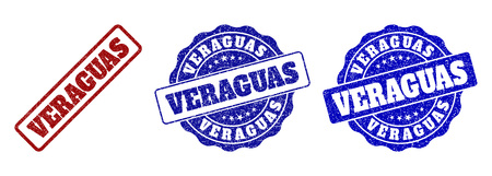 VERAGUAS grunge stamp seals in red and blue colors. Vector VERAGUAS overlays with grunge style. Graphic elements are rounded rectangles, rosettes, circles and text captions.