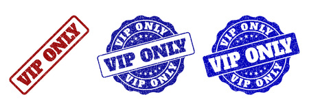 VIP ONLY grunge stamp seals in red and blue colors. Vector VIP ONLY overlays with grunge style. Graphic elements are rounded rectangles, rosettes, circles and text labels. Иллюстрация