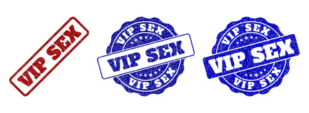VIP SEX scratched stamp seals in red and blue colors. Vector VIP SEX labels with distress surface. Graphic elements are rounded rectangles, rosettes, circles and text titles.
