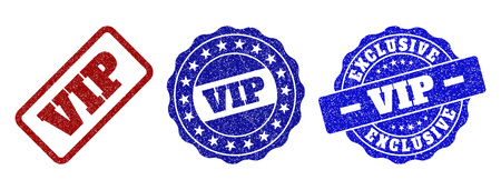 VIP grunge stamp seals in red and blue colors. Vector VIP marks with grunge effect. Graphic elements are rounded rectangles, rosettes, circles and text titles. Designed for rubber stamp imitations.