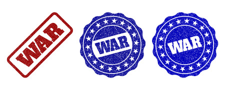 WAR scratched stamp seals in red and blue colors. Vector WAR marks with dirty effect. Graphic elements are rounded rectangles, rosettes, circles and text captions.