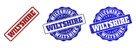 WILTSHIRE grunge stamp seals in red and blue colors. Vector WILTSHIRE marks with dirty texture. Graphic elements are rounded rectangles, rosettes, circles and text labels.