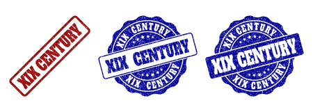 XIX CENTURY grunge stamp seals in red and blue colors. Vector XIX CENTURY labels with grunge effect. Graphic elements are rounded rectangles, rosettes, circles and text captions. Illustration