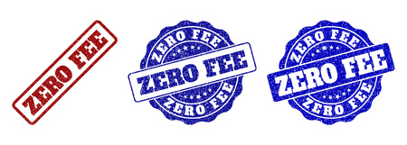 ZERO FEE grunge stamp seals in red and blue colors. Vector ZERO FEE labels with dirty effect. Graphic elements are rounded rectangles, rosettes, circles and text labels.