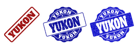 YUKON scratched stamp seals in red and blue colors. Vector YUKON marks with grunge effect. Graphic elements are rounded rectangles, rosettes, circles and text labels. Illustration