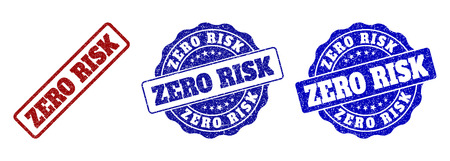 ZERO RISK grunge stamp seals in red and blue colors. Vector ZERO RISK imprints with grunge texture. Graphic elements are rounded rectangles, rosettes, circles and text labels.