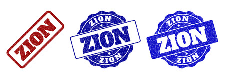 ZION scratched stamp seals in red and blue colors. Vector ZION watermarks with grainy style. Graphic elements are rounded rectangles, rosettes, circles and text captions. Imagens - 127205581