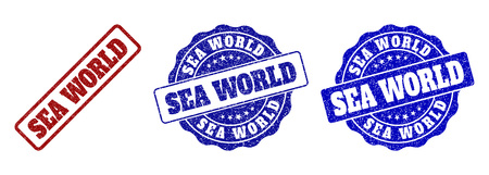 SEA WORLD grunge stamp seals in red and blue colors. Vector SEA WORLD signs with grunge surface. Graphic elements are rounded rectangles, rosettes, circles and text labels.