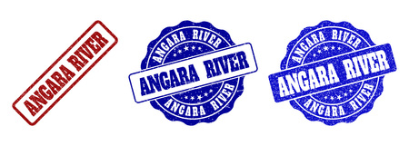 ANGARA RIVER scratched stamp seals in red and blue colors. Vector ANGARA RIVER overlays with distress surface. Graphic elements are rounded rectangles, rosettes, circles and text tags. Illustration