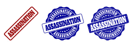 ASSASSINATION grunge stamp seals in red and blue colors. Vector ASSASSINATION imprints with grunge texture. Graphic elements are rounded rectangles, rosettes, circles and text labels.