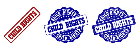 CHILD RIGHTS grunge stamp seals in red and blue colors. Vector CHILD RIGHTS signs with grunge style. Graphic elements are rounded rectangles, rosettes, circles and text captions.