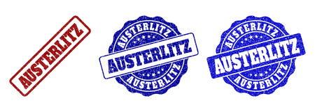 AUSTERLITZ grunge stamp seals in red and blue colors. Vector AUSTERLITZ imprints with grunge surface. Graphic elements are rounded rectangles, rosettes, circles and text tags.
