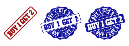 BUY 1 GET 2 scratched stamp seals in red and blue colors. Vector BUY 1 GET 2 labels with grunge surface. Graphic elements are rounded rectangles, rosettes, circles and text labels.
