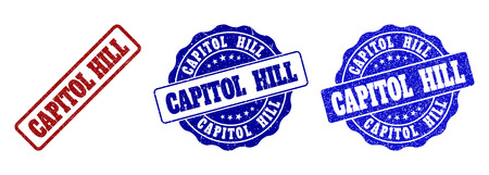 CAPITOL HILL grunge stamp seals in red and blue colors. Vector CAPITOL HILL signs with grunge surface. Graphic elements are rounded rectangles, rosettes, circles and text tags.