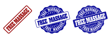 FREE MASSAGE grunge stamp seals in red and blue colors. Vector FREE MASSAGE signs with grunge texture. Graphic elements are rounded rectangles, rosettes, circles and text tags. Illustration