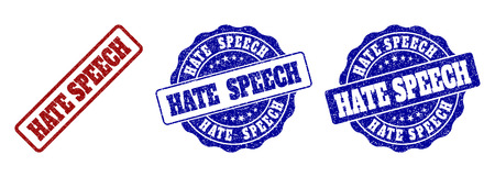 HATE SPEECH grunge stamp seals in red and blue colors. Vector HATE SPEECH labels with distress surface. Graphic elements are rounded rectangles, rosettes, circles and text labels. Illustration