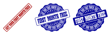 GET YOUR FIRST MONTH FREE grunge stamp seals in red and blue colors. Vector GET YOUR FIRST MONTH FREE labels with dirty style. Graphic elements are rounded rectangles, rosettes,