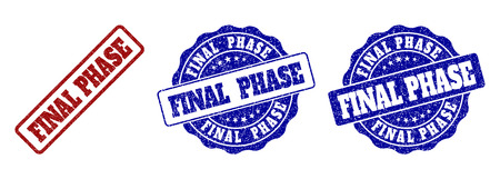 FINAL PHASE grunge stamp seals in red and blue colors. Vector FINAL PHASE watermarks with grunge texture. Graphic elements are rounded rectangles, rosettes, circles and text titles.