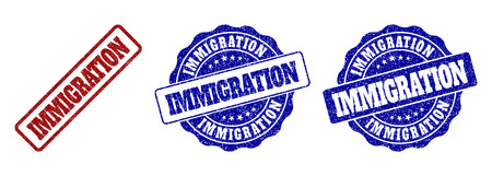 IMMIGRATION scratched stamp seals in red and blue colors. Vector IMMIGRATION watermarks with dirty surface. Graphic elements are rounded rectangles, rosettes, circles and text titles.
