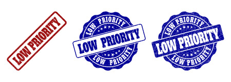 LOW PRIORITY grunge stamp seals in red and blue colors. Vector LOW PRIORITY marks with grunge effect. Graphic elements are rounded rectangles, rosettes, circles and text labels. Illustration