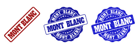 MONT BLANC grunge stamp seals in red and blue colors. Vector MONT BLANC watermarks with grunge texture. Graphic elements are rounded rectangles, rosettes, circles and text captions. Stock Vector - 127166647