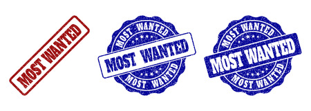 MOST WANTED grunge stamp seals in red and blue colors. Vector MOST WANTED labels with grunge style. Graphic elements are rounded rectangles, rosettes, circles and text tags.