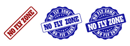 NO FLY ZONE scratched stamp seals in red and blue colors. Vector NO FLY ZONE watermarks with grainy style. Graphic elements are rounded rectangles, rosettes, circles and text tags. Ilustrace
