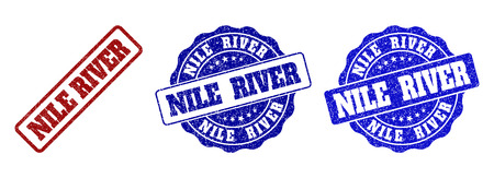 NILE RIVER grunge stamp seals in red and blue colors. Vector NILE RIVER marks with grunge style. Graphic elements are rounded rectangles, rosettes, circles and text captions.