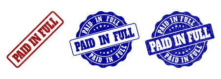 PAID IN FULL grunge stamp seals in red and blue colors. Vector PAID IN FULL labels with scratced texture. Graphic elements are rounded rectangles, rosettes, circles and text labels.