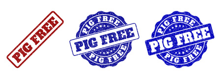 PIG FREE grunge stamp seals in red and blue colors. Vector PIG FREE imprints with grunge style. Graphic elements are rounded rectangles, rosettes, circles and text titles.