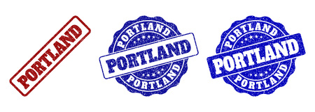 PORTLAND scratched stamp seals in red and blue colors. Vector PORTLAND marks with draft effect. Graphic elements are rounded rectangles, rosettes, circles and text labels.