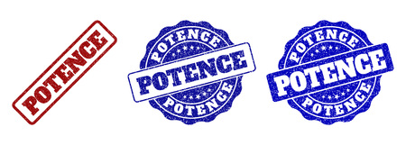 POTENCE grunge stamp seals in red and blue colors. Vector POTENCE signs with draft surface. Graphic elements are rounded rectangles, rosettes, circles and text tags.