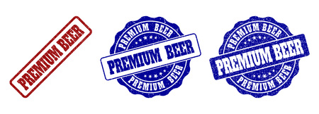 PREMIUM BEER scratched stamp seals in red and blue colors. Vector PREMIUM BEER marks with scratced style. Graphic elements are rounded rectangles, rosettes, circles and text captions.